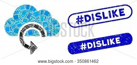 Collage Refresh And Rubber Stamp Seals With Hashtag Dislike Text. Mosaic Vector Refresh Is Designed