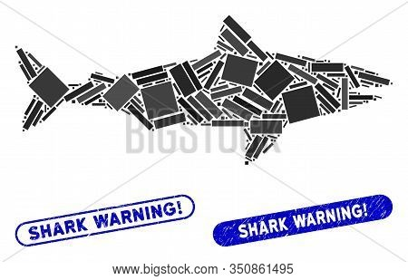 Mosaic Shark And Rubber Stamp Seals With Shark Warning Exclamation Text. Mosaic Vector Shark Is Crea