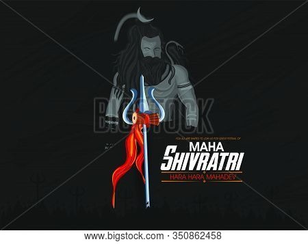 Illustration Of Lord Shiva With Brush Background. Trident With Damru Of Lord Shiv With Maha Shivratr