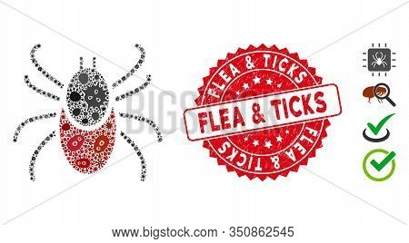 Epidemic Mosaic Mite Tick Icon And Rounded Corroded Stamp Watermark With Flea And Ticks Phrase. Mosa