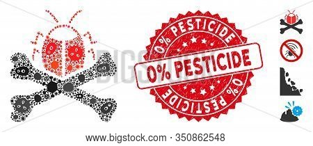 Infected Collage Pesticide Icon And Round Grunge Stamp Seal With 0 Percent Pesticide Phrase. Mosaic