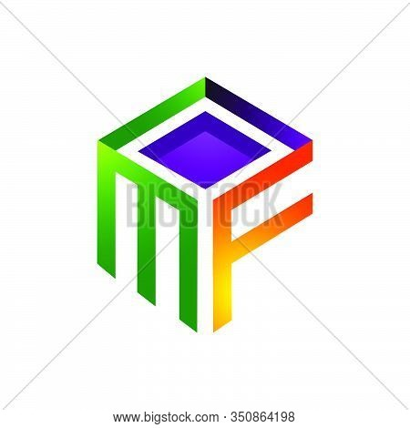 Colorful Mf Logo Initial Letter On Te Box Graphic Concept Vector