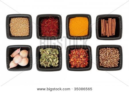 Spice collection of coriander and mustard seed, chili flakes, saffron,  cinnamon sticks, cardamom pods, turmeric, garlic cloves in black square dishes on white background.