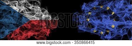 Flags Of Czech And Eu On Black Background, Czech Vs Europe Union Smoke Flags