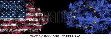 Flags Of Usa And Eu On Black Background, Usa Vs Europe Union Smoke Flags