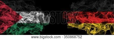 Flags Of Palestine And Germany On Black Background, Palestine Vs Germany Smoke Flags