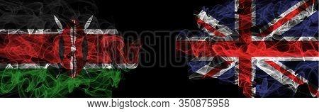 Flags Of Kenya And United Kingdom On Black Background, Kenya Vs United Kingdom Smoke Flags