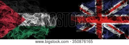 Flags Of Palestine And United Kingdom On Black Background, Palestine Vs United Kingdom Smoke Flags