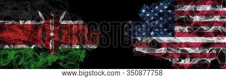 Flags Of Kenya And Usa On Black Background, Kenya Vs Usa Smoke Flags