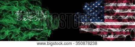 Flags Of Saudi Arabia And Usa On Black Background, Saudi Arabia Vs Usa Smoke Flags