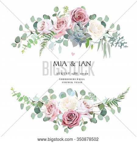 Dusty And Light Pink, Creamy Antique Rose, Pale Flowers Vector Design Wedding Bouquets. Eucalyptus,