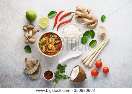 Tom Yum Goong Or Tom Yam Kung And Set Of Ingredients.