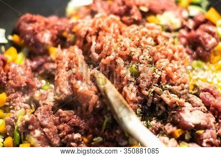 Close Up Of Minced Meat Food Cooking. Healthy Food. Tasty Food. Nutritious Food. Close Up Of Cooking