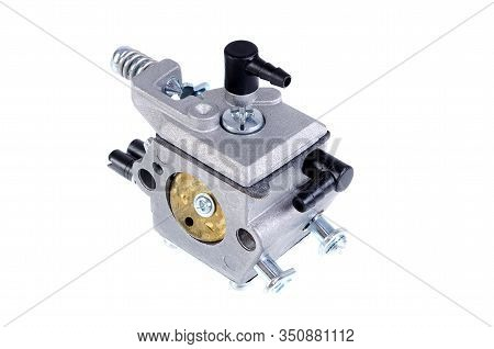 Chainsaw Carburetor Close-up On A White Background