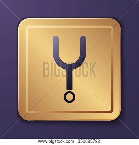 Purple Musical Tuning Fork For Tuning Musical Instruments Icon Isolated On Purple Background. Gold S