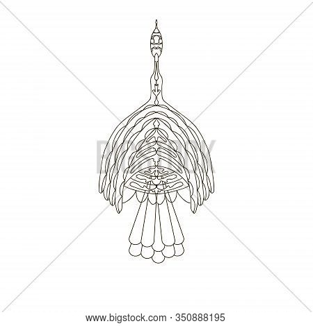 Vector Of An Abstract Ethnic Bird.monochrome Outline On A Transparent Background.the Style Of Zentan
