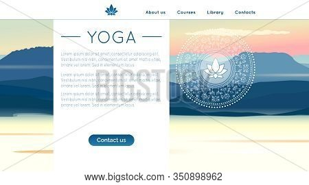 Vector Yoga Illustration With Mountains Landscape, Ethnic Pattern And Sample Text In Gradient Colors