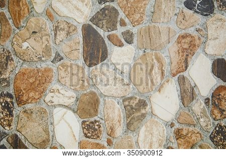 Background Of Stone. Decorative Floor Finishing, Ceramic Tiles, Natural Surface