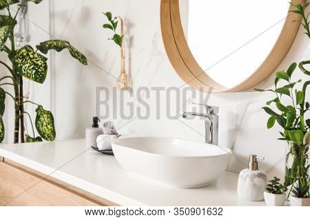 Stylish Vessel Sink And Green Plants In Bathroom. Interior Design Element