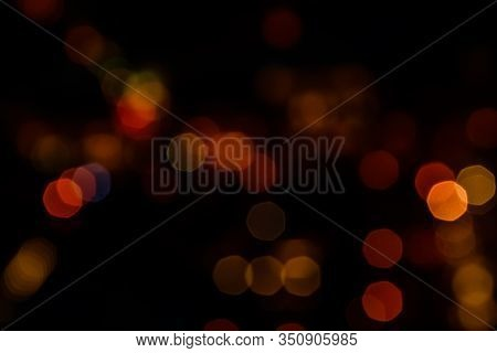 Abstract And Blurred Background Of Big City Lights. Bokeh Concept
