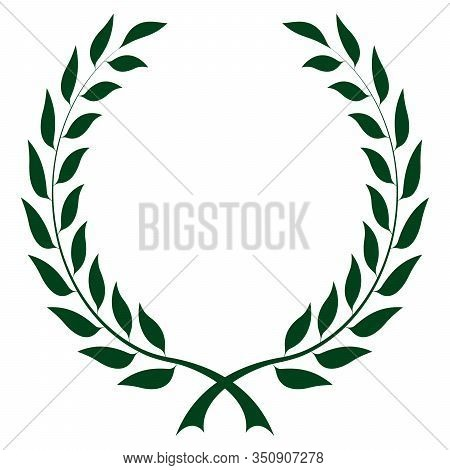 Laurel Honor Wreath Vector In Dark Green On White Isolated Background. A Proper Designed Laurel Wrea