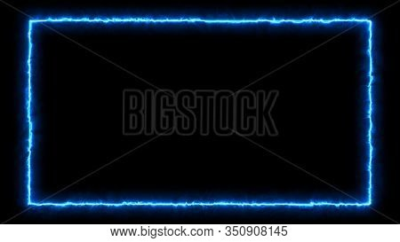 Empty Frame With Electric Power Round Border Glowing, Burning Flame Sign. Blank Rectangle Fire With