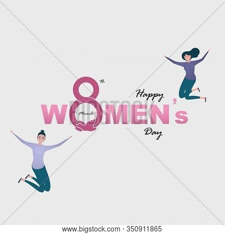 Eight Icon And Women With Pink Happy International Women's Day Design Elements.international Women's