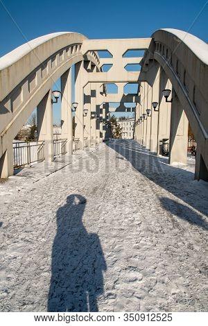 Karvina, Czech Republic - January, 7, 2019: Concrete Bridge Over Olse River In Karvina - Darkov Town