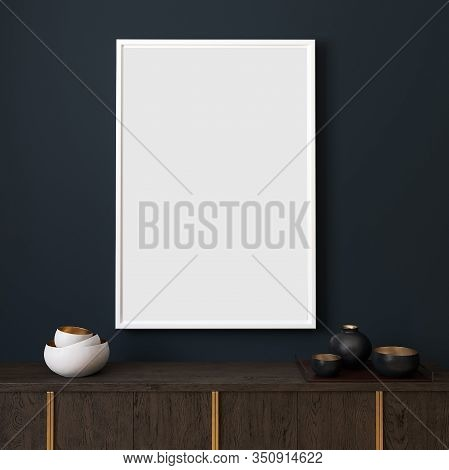 Picture Mockup With White Vertical Frame On Dark Blue Wall. Stylish Dark Interior With Decor And Woo