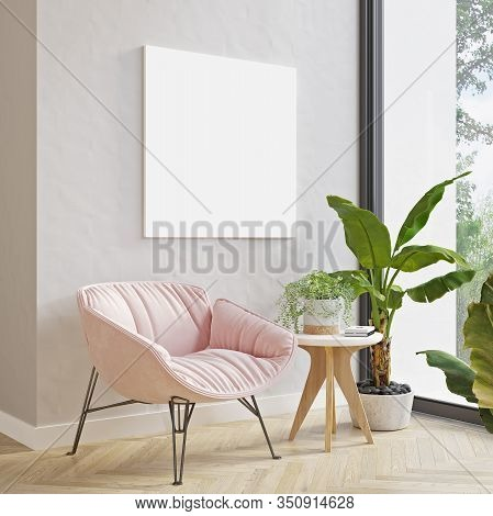 Picture Mockup On Light Wall Above Modern Pink Armchair And Plants. Modern Minimalistic Scandinavian