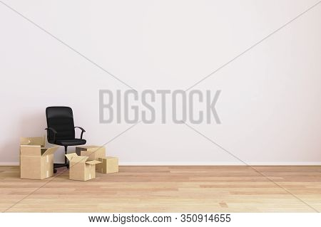 Apartment Moving. Empty Room With Chair And Carton Boxes. Moving. House Moving. Room For Mockup. 3d