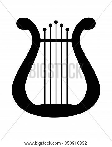 Lyra - A Symbol Of Inspiration A Musical Instrument - Vector Silhouette For Your Logo. Harp - A Symb