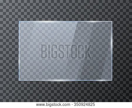 Empty Rectangle Glass Banner. Glossy Frame Template With Reflection. Vector Illustration Isolated On