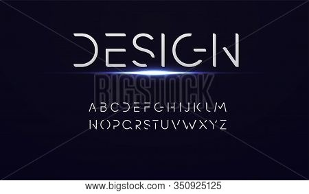 Abstract Technology Alphabet Font. Typography Technology Digital Font Design.