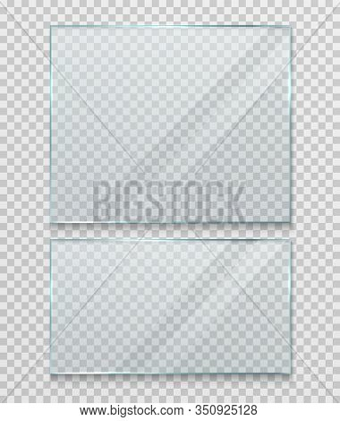 Transparent Glass Banner, Frame. Flat Gloss Glass Window Or Panel On A Transparent Background.