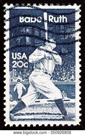 Usa - Circa 1983: A Stamp Printed In Usa Shows Baseball Player Babe Ruth, Circa 1983.