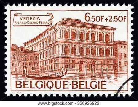 Belgium - Circa 1975: A Stamp Printed In Belgium Shows Palazzo Cesario Pesaro (international Gallery