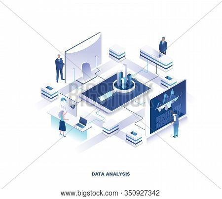 Data Analysis, Statistical Or Financial Analytics Isometric Landing Page. Concept With Tiny People A