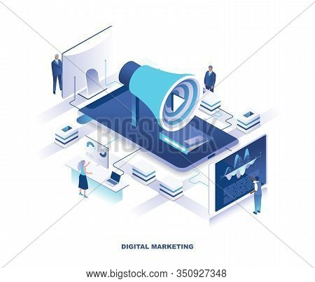 Social Media Marketing Or Smm, Digital Advertising Isometric Landing Page. Concept With Tiny People
