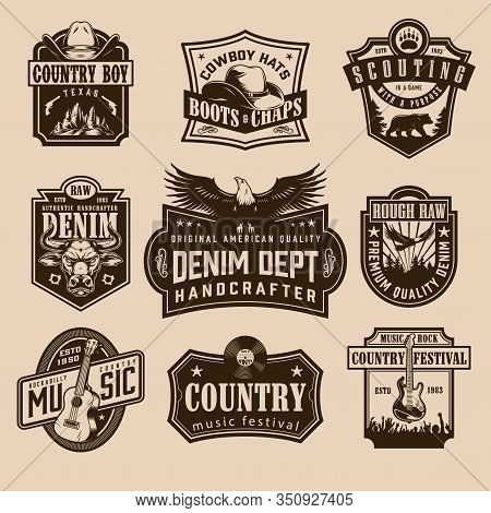 Vintage Wild West Labels With Cowboy Hat Revolvers Angry Bull Head Bear Eagle Vinyl Record Acoustic