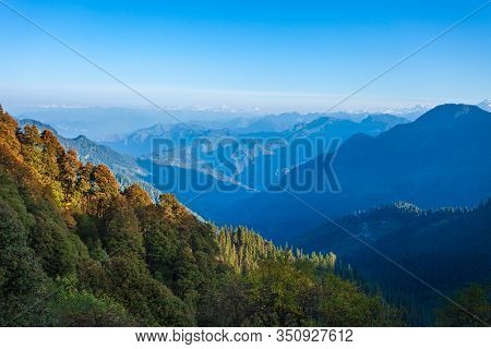 Great Himalayas Or Greater Himalayas At Sunrise, It Is The Highest Mountain Range, Himachal Pradesh