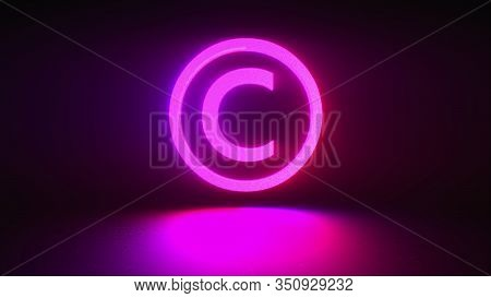 Rotating Neon Copyright Sign On A Dark Background, Computer Generated Digital Symbol. 3d Rendering O