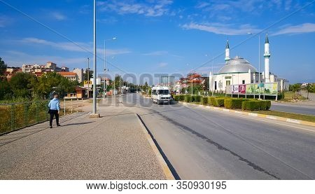 Colakli, Turkey - November 05, 2019: Main Road And Zekiye Oz Hatun Camii Mosque In Colakli Town Near