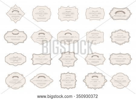 Vintage Tag Labels. Ornamental Retro Badges, Decorative Frame Shapes And Elegant Label For Wedding I