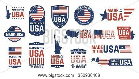 Made In Usa Badges. Patriot Proud Label Stamp, American Flag And National Symbols, United States Of