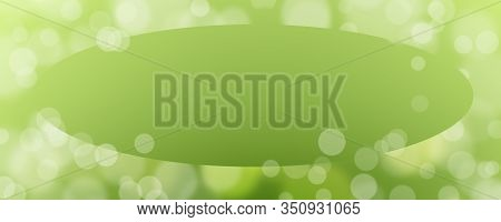 Abstract Green Background With Bokeh With Copy Space In The Center - Christmas Or Spring Concept - B