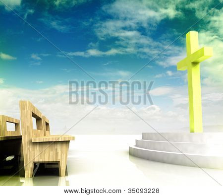 Church Space With Golden Cross And Wooden Bench