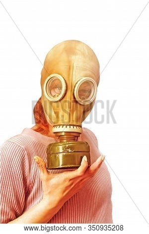 Are you ready to new look? Young woman in gas mask isolated on a white background. Corona Virus SARS concept.