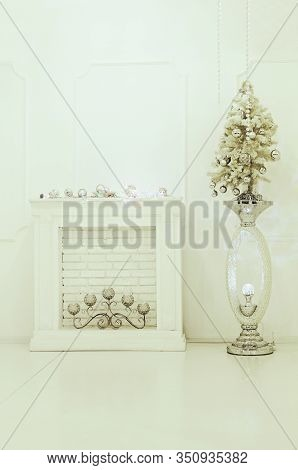 Christmas Room Interior In White Colors. Christmas. New Year.