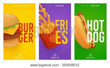 Social Media Stories Template On Theme Fast Food. Set Of Banners Square Shape On Theme Fast Food. De